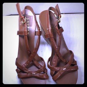 Ralph Lauren Wedge Brown Sandals  Size 7.5M